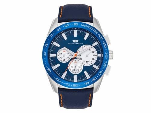 Herrenuhr Chronograph Edelstahl Ziffernblatt blau/stahlfarben Lederband blau von RHODENWALD & SÖHNE (*DB*HU*) - Bild vergrößern