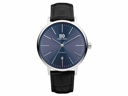 Klassische Automatik-Herrenuhr Edelstahl Ziffernblatt blau mit Lederband schwarz von Danish Design (*DD*HU*) - Bild vergrößern
