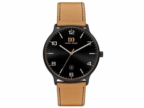 Sportlich-Elegante Armbanduhr Titan schwarz Ziffernblatt schwarz mit Lederband hellbraun von Danish Design (*DD*HU*) - Bild vergrößern