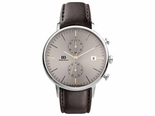 Herren-Chronograph Edelstahl Ziffernblatt braun mit Lederband dunkelbraun von Danish Design (*DD*HU*) - Bild vergrößern