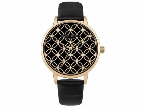 Armbanduhr goldfarben Ziffernblatt schwarz Lederband in schwarz von Daisy Dixon (*DX*DU*) - Bild vergrößern