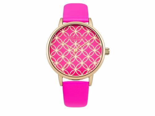 Armbanduhr goldfarben Ziffernblatt pink Lederband in pink von Daisy Dixon (*DX*DU*) - Bild vergrößern