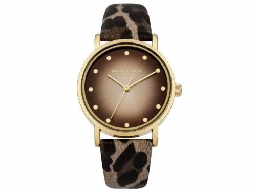 Armbanduhr goldfarben Ziffernblatt kupferfarben Lederband in Tierfell-Optik von Daisy Dixon (*DX*DU*) - Bild vergrößern