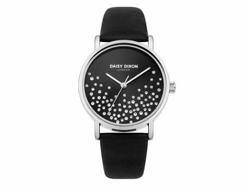 Armbanduhr silberfarben Ziffernblatt schwarz Lederband in schwarz von Daisy Dixon (*DX*DU*) - Bild vergrößern