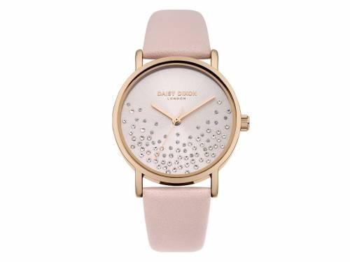Armbanduhr roségoldfarben Ziffernblatt silber-grau Lederband in rosa von Daisy Dixon (*DX*DU*) - Bild vergrößern