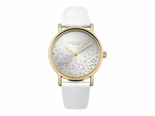 Armbanduhr goldfarben Ziffernblatt silber-grau Lederband in weiß von Daisy Dixon (*DX*DU*) - Bild vergrößern