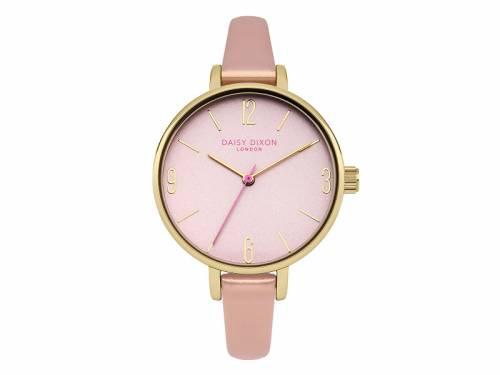 Armbanduhr goldfarben Ziffernblatt rosa Lederband in rosa von Daisy Dixon (*DX*DU*) - Bild vergrößern