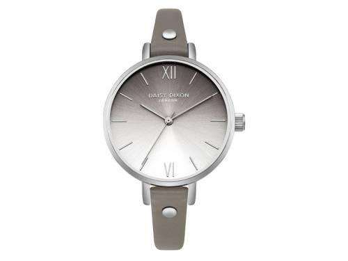 Armbanduhr silberfarben Ziffernblatt grau-silberfarben Lederband in grau von Daisy Dixon (*DX*DU*) - Bild vergrößern