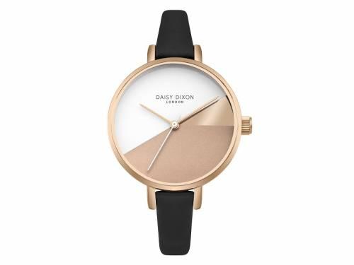 Armbanduhr roségoldfarben Ziffernblatt braun-altweiß Lederband in schwarz von Daisy Dixon (*DX*DU*) - Bild vergrößern