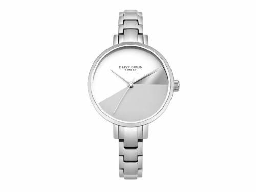 Armbanduhr silberfarben Ziffernblatt grau-weiß Edelstahlband silberfarben von Daisy Dixon (*DX*DU*) - Bild vergrößern