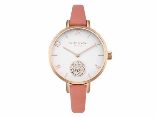 Armbanduhr roségoldfarben Ziffernblatt weiß Lederband lachsfarben von Daisy Dixon (*DX*DU*) - Bild vergrößern