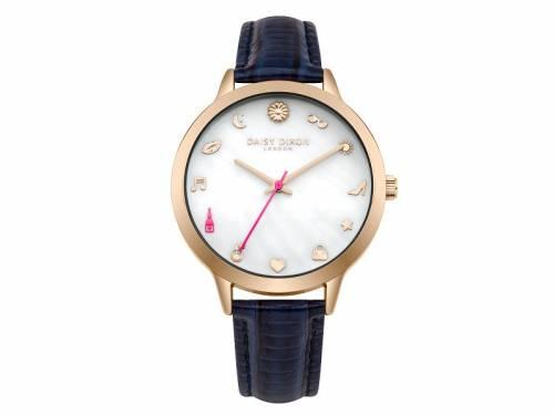 Armbanduhr roségoldfarben Ziffernblatt perlmuttfarben Lederband in dunkelblau von Daisy Dixon (*DX*DU*) - Bild vergrößern