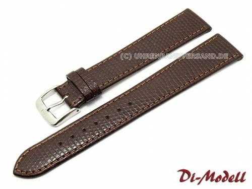 Uhrenarmband 19mm dunkelbraun Di-Modell -Brillant- Eidechs-Prägung (Schließenanstoß 16 mm) - Bild vergrößern