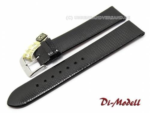 Uhrenarmband 17mm schwarz echt Eidechse Klassik ohne Naht von Di-Modell (Schließenanstoß 16 mm) - Bild vergrößern