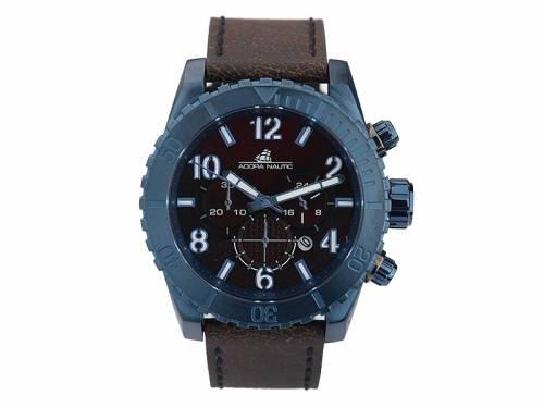 Sportiver Chronograph Edelstahl marineblau Ziffernblatt bordeaux mit Lederband dunkelbraun von ADORA (*AD*HU*) - Bild vergrößern