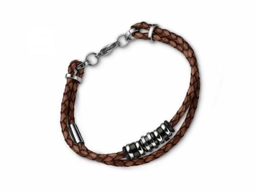 Schmuck-Armband braun Leder/Edelstahl bicolor 2-reihig Verschluß Edelstahl silberfarben von CEM - Bandlänge ca. 21cm - Bild vergrößern