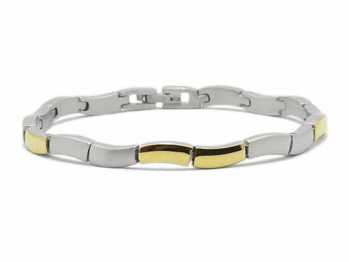 Schmuck-Armband Edelstahl stahlfarben/goldfarben Verschluß Edelstahl von CEM - Bandlänge ca. bis 19cm - Bild vergrößern
