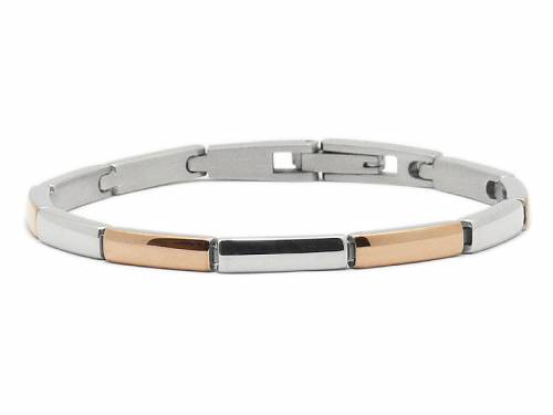 Schmuck-Armband Edelstahl stahl/roségoldfarben von CEM - Bandlänge ca. bis 19cm - Bild vergrößern