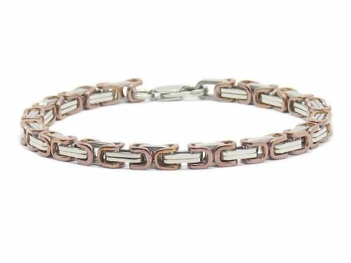 Schmuck-Armband Königskette stahl/braun Edelstahl poliert Verschluß Edelstahl silberfarben von CEM - Bandlänge ca. 21cm - Bild vergrößern