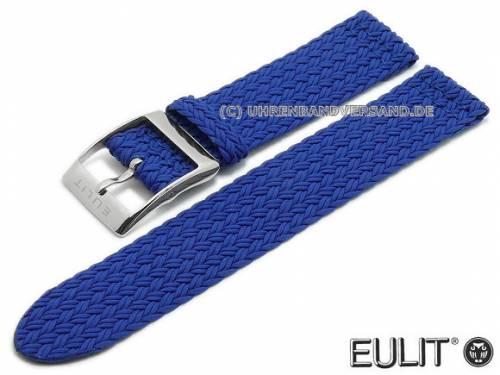 Uhrenarmband -Palma Pacific- 20mm blau Perlon/Textil flach modisch von EULIT (Schließenanstoß 20 mm) - Bild vergrößern