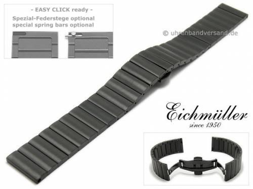 Uhrenarmband 20mm schwarz Edelstahl gebürstet vorbereitet für EASY-CLICK mit Faltschließe von EICHMÜLLER - Bild vergrößern