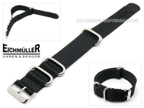 Uhrenarmband -NATO- 20mm schwarz Textil Durchzugsband von Eichmüller (Schließenansto 20 mm) - Bild vergrößern