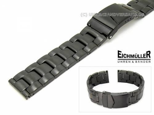 Uhrenarmband Edelstahl schwarz 22mm massiv matt von Eichmüller - Bild vergrößern