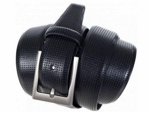 Gürtel echt Leder schwarz Lochmuster - Größe 105 (Breite ca. 3,5 cm) - Bild vergrößern