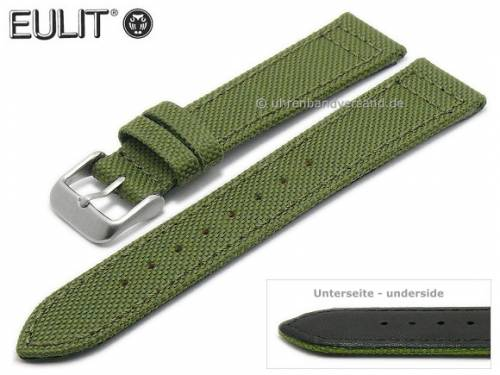Uhrenarmband -Canvas- 22mm olivgrün Textil abgenäht von EULIT (Schließenanstoß 20 mm) - Bild vergrößern