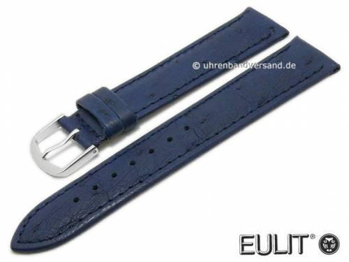 Uhrenarmband 20mm dunkelblau echt Strauß ohne/wenig Noppen EULIT (Schließenanstoß 18 mm) - Bild vergrößern