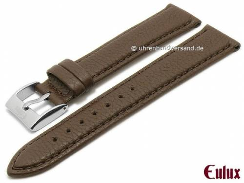 Uhrenarmband -Olive- 18mm dunkelbraun Olivenleder vegetabil gegerbt abgenäht von EULUX (Schließenanstoß 16 mm) - Bild vergrößern