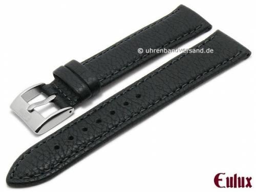Uhrenarmband -Olive- 20mm schwarz Olivenleder vegetabil gegerbt abgenäht von EULUX (Schließenanstoß 18 mm) - Bild vergrößern
