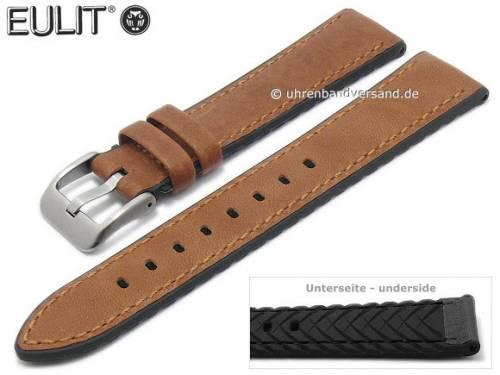 Uhrenarmband -Waterproof- 22mm hellbraun-schwarz Leder/Silikon glatt abgenäht von EULIT (Schließenanstoß 20 mm) - Bild vergrößern
