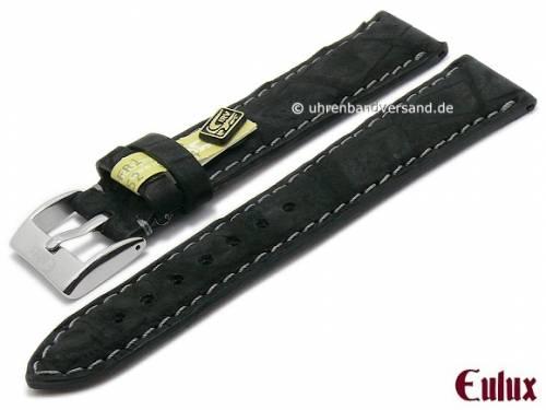 Uhrenarmband -Kaiman Nubuk- 20mm schwarz echtes Alligatorleder mit Samtgriff von EULUX (Schließenanstoß 18 mm) - Bild vergrößern