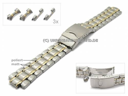 Uhrenarmband 18-22mm Edelstahl bicolor Multianstoß mit Sicherheitsfaltschließe von EULIT - Bild vergrößern