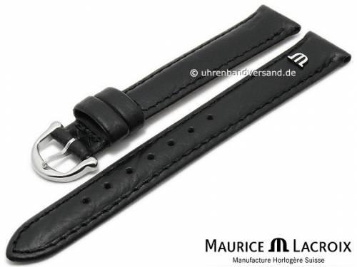 Uhrenarmband Original MAURICE LACROIX 14mm schwarz Leder leicht genarbt bis glatt abgenäht - Bild vergrößern