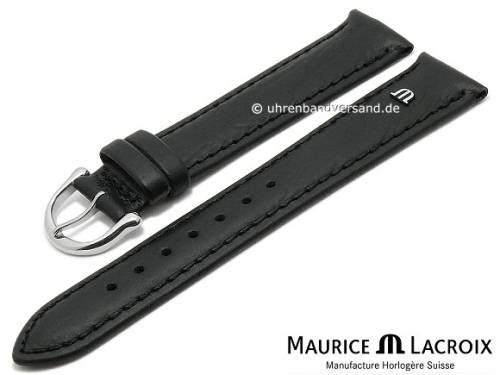Uhrenarmband Original MAURICE LACROIX 16mm schwarz Leder leicht genarbt bis glatt abgenäht - Bild vergrößern