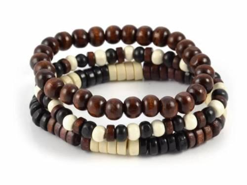 (Schmuck-) Armband-Set 3-teilig Holz schwarz/braun/beige - Bandlänge ca. 20cm - Bild vergrößern