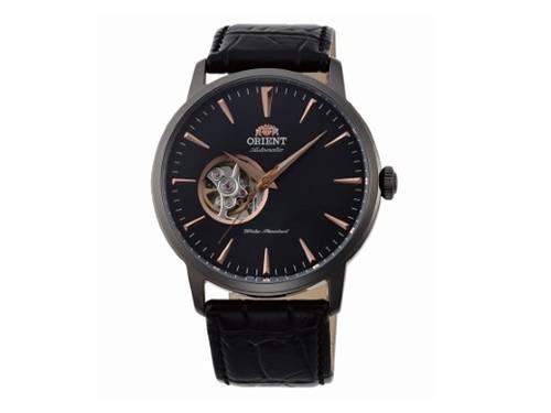 Automatik-Armbanduhr Edelstahl anthrazit Ziffernblatt schwarz offene Unruh von ORIENT (*OR*AU*) - Produktbild