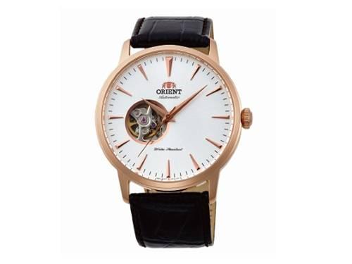 Automatik-Armbanduhr Edelstahl roségoldfarben Ziffernblatt weiß offene Unruh von ORIENT (*OR*AU*) - Produktbild