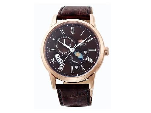 Automatik-Armbanduhr Edelstahl roségoldfarben Ziffernblatt schwarz Mondphase von ORIENT (*OR*AU*) - Produktbild