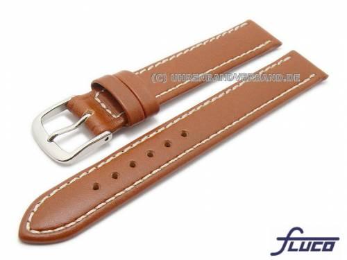 Uhrenarmband XL -Triumpf- 14mm hellbraun Rindleder glatt helle Naht FLUCO (Schließenanstoß 12 mm) - Bild vergrößern
