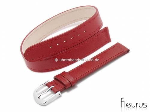 Uhrenarmband 12mm rot Leder glatt abgenäht Wickelband von FLEURUS (Schließenanstoß 12 mm) - Bild vergrößern