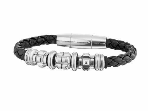 Schmuck-Armband -Grinder- schwarz Leder/Edelstahl Magnet-Verschluss von POLICE - Bandlänge ca. 22cm - Bild vergrößern