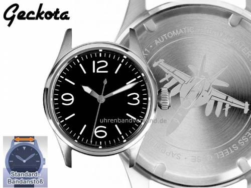 Sportliche Automatik-Herrenuhr im Aviator-Design Ziffernblatt schwarz ohne Uhrenarmband von Geckota (*GK*HU*) - Bild vergrößern