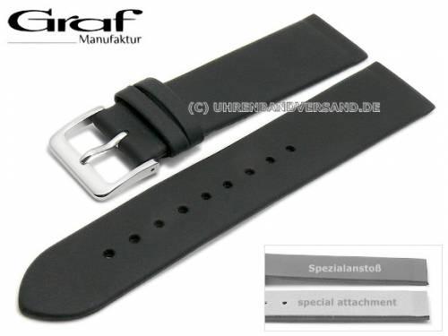 Uhrenarmband XL -Kopenhagen- 16mm schwarz Leder Spezialanstoß für verschr. Gehäuse von GRAF (Schließenanstoß 16 mm) - Bild vergrößern