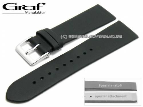 Uhrenarmband -Kopenhagen- 22mm schwarz Leder Spezialanstoß für verschr. Gehäuse von GRAF (Schließenanstoß 18 mm) - Bild vergrößern