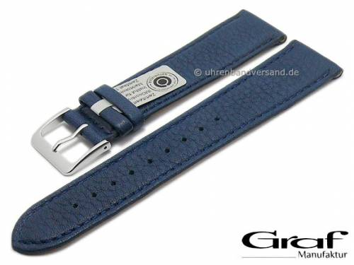 Uhrenarmband -Divus- 18mm dunkelblau Natur-Leder zertifiziert genarbt matt abgenäht von GRAF (Schließenanstoß 16 mm) - Bild vergrößern