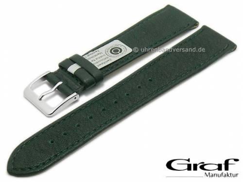Uhrenarmband -Divus- 22mm dunkelgrün Natur-Leder zertifiziert genarbt matt abgenäht von GRAF (Schließenanstoß 18 mm) - Bild vergrößern
