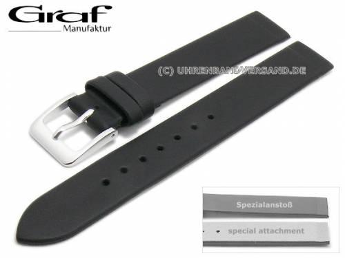 Uhrenarmband -Kopenhagen- 14mm schwarz Leder Spezialanstoß für verschr. Gehäuse von GRAF (Schließenanstoß 14 mm) - Bild vergrößern